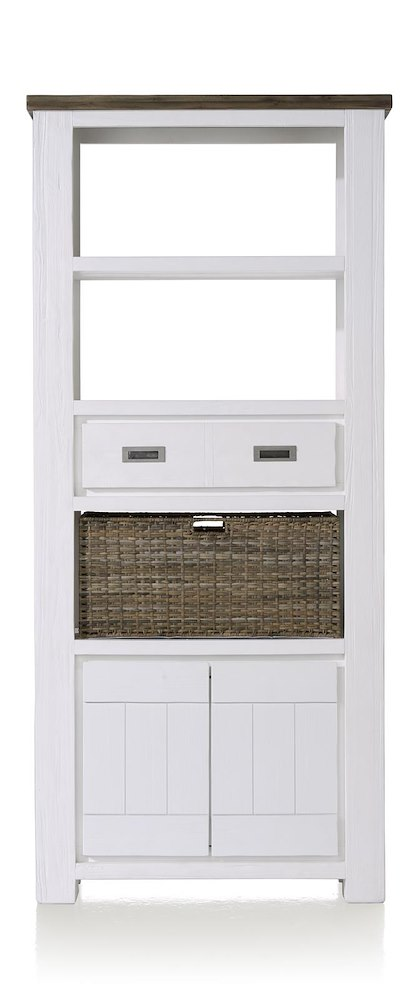 Deaumain, boekenkast hoog 2-deuren + 1-lade + 3-niches + 1-mand - 90 cm