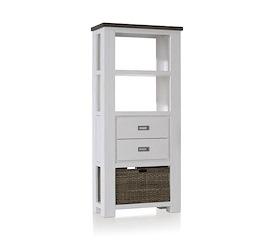 Deaumain, boekenkast laag 2-laden + 3-niches + 1-mand - 75 cm