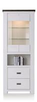 Deaumain, vitrine hoog 2-glasdeuren + 2-laden + 1-niche - 80 cm(+ halogeen)