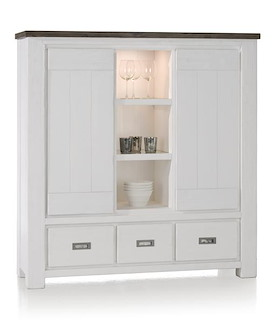 Deaumain, highboard 2-deuren + 3-laden + 3-niches - 140 cm (+ halogeen)