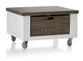 Deaumain, hoektafel 70 x 70 cm + 1-mand t&t met wielen + houten pootjes
