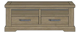 Borneo, TV-dressoir 2-laden + 2-niches 130 cm