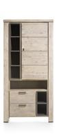 Coiba, bergkast 1-deur + 2-laden + 7-niches