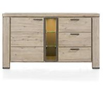Coiba, dressoir 160 cm - 1-deur + 3-laden + 3-niches (+ LED)