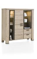 Coiba, highboard 2-deuren + 2-laden + 7-niches (+ LED) - 140 cm