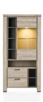 Coiba, vitrine 100 cm - 1-glasdeur + 2-laden + 7-niches (+ LED)