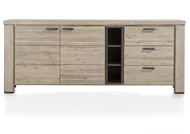 Coiba, dressoir 2-deuren + 3-laden + 3-niches - 225 cm
