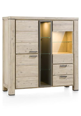 Coiba, highboard 2-deuren + 1-glasdeur + 2-laden + 4-niches (+ LED)