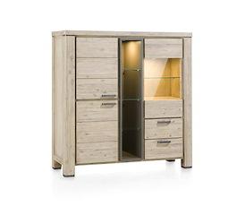 Coiba, highboard 2-deuren + 1-glasdeur + 2-laden + 4-niches (+ LED)