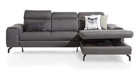 Milton, 2.5-zits + longchair rechts - met lounge + box