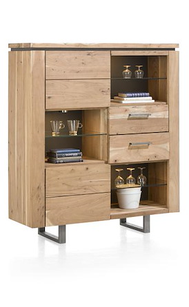 Ajezi, highboard 2-deuren + 2-Laden + 6-niches ( + LED)