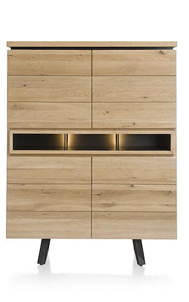 Larissa, highboard 4-deuren + 3-niches - 110 cm (+ led)