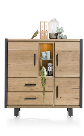 Brooklyn, highboard 3-deuren + 2-laden + 2-niches (+ LED)