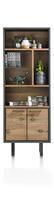Cladio, boekenkast 70 cm - 2-deuren + 5-niches