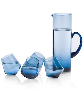 Set Caraf & 4 Glasses - blauw