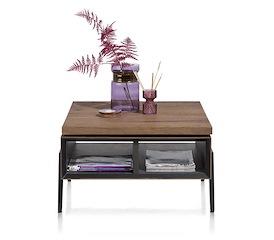 Janella, salontafel 70 x 70 cm + draaibare top - 2-niches