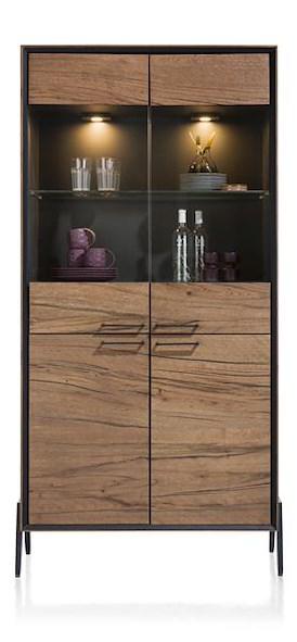 Janella, vitrine 2-glasdeuren + 2-deuren - 100 cm
