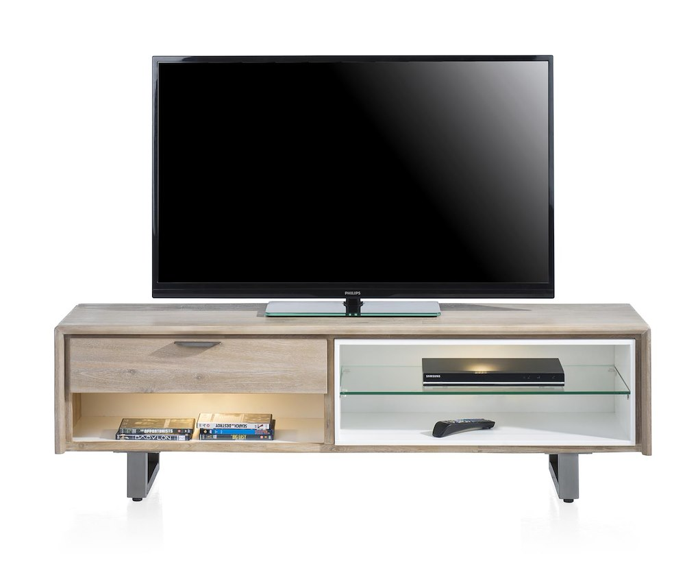 verano tv sideboard 1 lade 3 nischen 150 cm 2 led. Black Bedroom Furniture Sets. Home Design Ideas