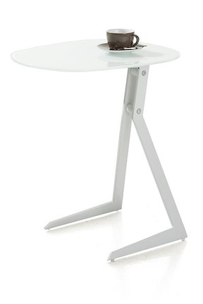 Calimero, Laptop Tisch 50 X 44,5 Cm + Rahmen Weiss + Top Glas Weiss