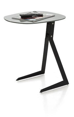 Calimero, Laptop Tisch 50 X 44,5 Cm + Rahmen Schwarz + Top Glas Grau