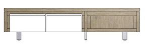 Mister, Tv-sideboard 2-klappen + 1-nische 160 Cm - Edelstahl