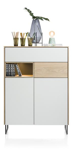 Darwin, Highboard 2-tueren + 2-laden + 1-nische - 100 Cm (+ Led)