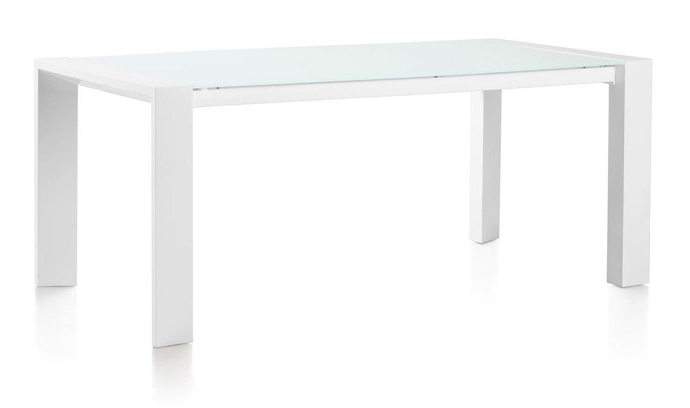 quadra, eetkamertafel 190 x 90 + metalen poot + ice glass ~ Esstisch Xooon