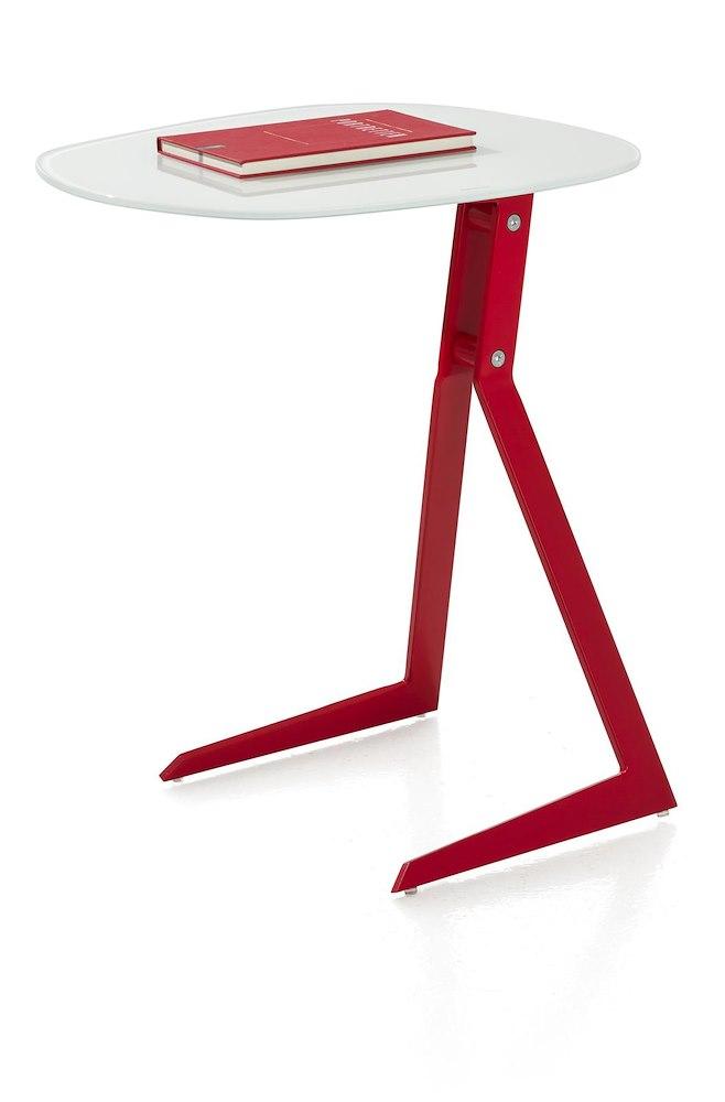 Calimero, laptop tafel 50 x 44,5 cm + frame rood + top glas wit
