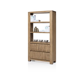 caracas boekenkast hoog 2 laden 3 niches 189 cm