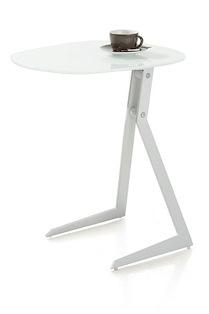 Calimero, Laptop Tafel 50 X 44,5 Cm + Frame Wit + Top Glas Wit