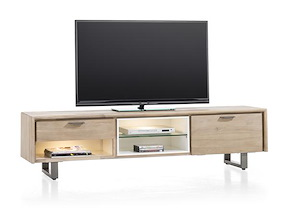Verano, Tv-dressoir 1-lade + 1-klep + 3-niches - 180 Cm (+ 2 Led)