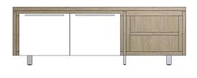 Mister, Lowboard 2-deuren + 2-niches 180 Cm - Rvs