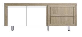 Mister, Lowboard 2-deuren + 2-niches 160 Cm - Rvs
