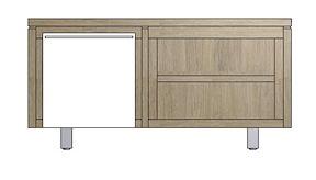 Mister, Lowboard 1-deur + 2-niches 120 Cm - Rvs