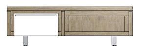 Mister, Tv-dressoir 1-klep + 1-niche 120 Cm - Rvs