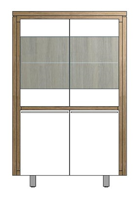 Mister, Highboard 2-deuren + 2-glasdeuren 99 Cm - Rvs