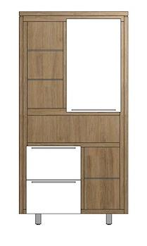 Mister, Bergkast 1-deur + 2-laden + 6-niches - Rvs