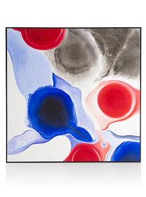 Schilderij Water Color - Olieverf In Zwart Frame - 90 X 90 Cm
