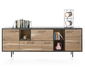 Cenon, Dressoir 2-deuren + 2-laden + 3-niches - 220 Cm (+ Led)