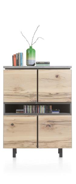 Myland, Highboard 110 Cm - 4-deuren + 3-niches - (+ Led)