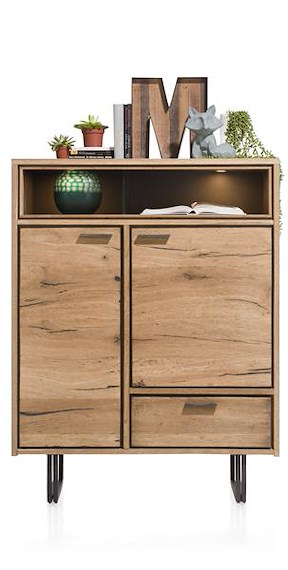 Denmark, Highboard 2-deuren + 1-lade + 2-niches - 110 Cm (+led)