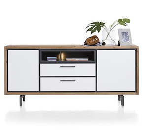 Otta, Dressoir 2-deuren + 2-laden + 2-niches - 180 Cm (+ Led)