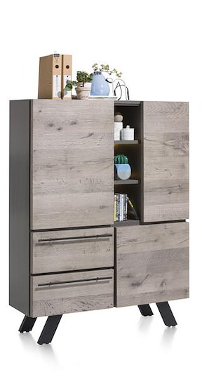 Vinovo, Highboard 3-deuren + 2-laden + 3-niches - 125 Cm (+ Led)