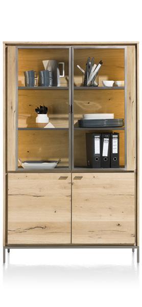 Faneur, Vitrine 2-glasdeuren + 2-deuren - 110 Cm (+ Led)