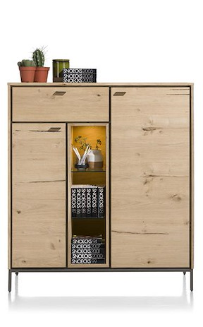 Faneur, Highboard 125 Cm - 2-deuren + 1-lade + 3-niches (+ Led)
