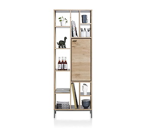 faneur boekenkast 1 deur 11 niches 70 cm
