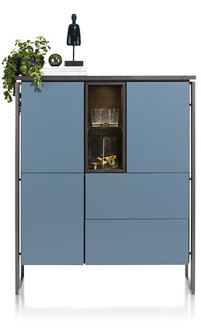 Glasgow, Highboard 3-deuren + 2-laden + 2-niches - 115 Cm (+ Led)