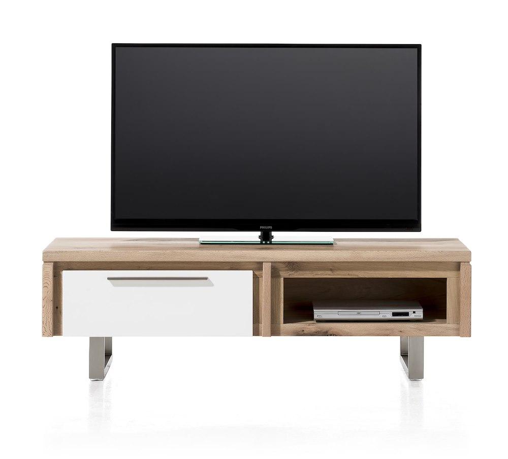 Mister meuble tv 1 porte rabatante 1 niche 140 cm inox for Meuble tv pour ecran plat 140 cm