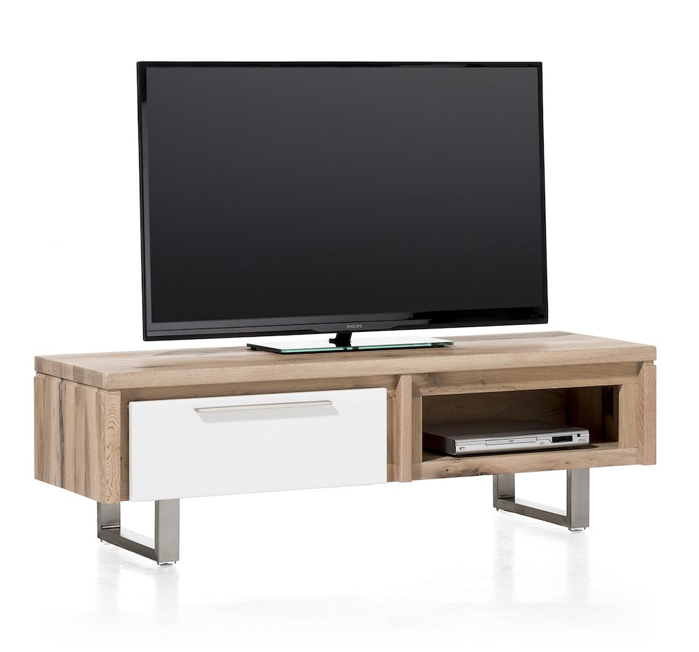 Mister meuble tv 1 porte rabatante 1 niche 140 cm inox for Meuble xooon