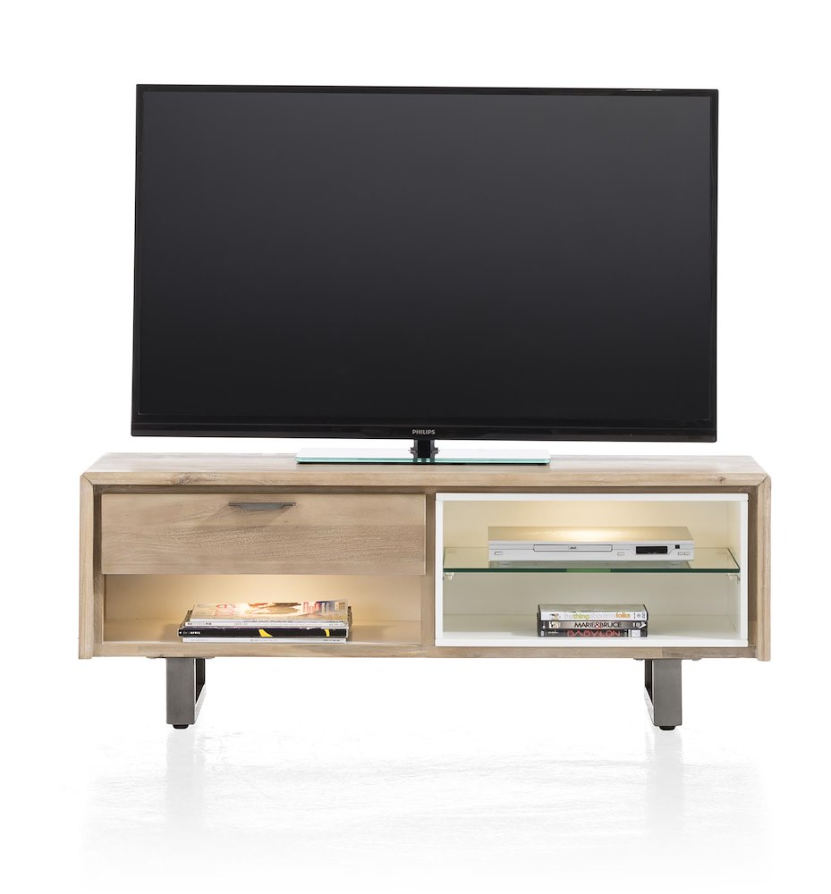 Verano meuble tv 1 tiroir 3 niches 120 cm 2 led for Meuble xooon